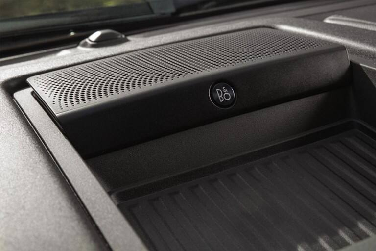Close up of B and O Play Premium Audio System logo in vehicle