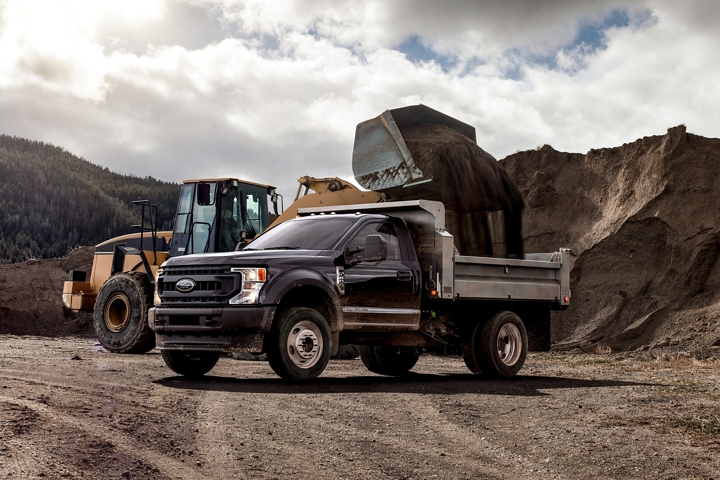 2021 Ford Super Duty X L F 600 Chassis Cab in Agate Black in canyon near construction vehicle