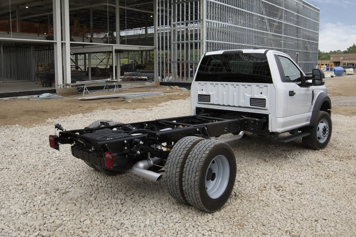 2021 Ford Super Duty Chassis Cab X L T shown in Oxford White with upfit at work site rear view