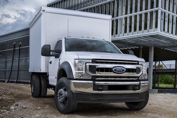 2021 Ford Super Duty Chassis Cab X L T shown in Oxford White with Box Truck upfit at worksite